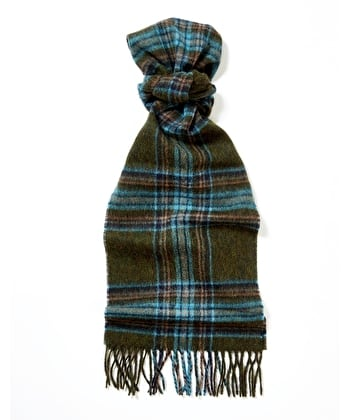Lambswool Scarf - Olive/Blue