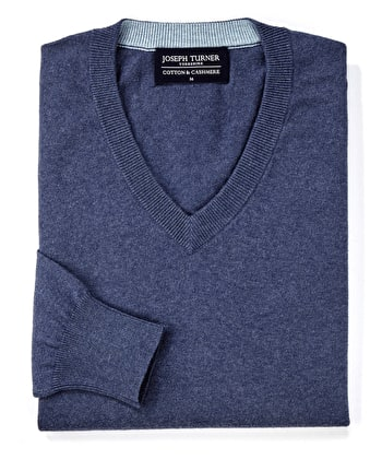 Cotton/Cashmere - V Neck - Denim