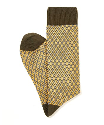 Diamond Knit Socks - Yellow/Olive
