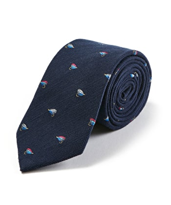 Fishing Flies on Navy Wool/Silk Tie