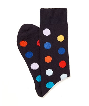 Spotty Cotton Socks - Navy