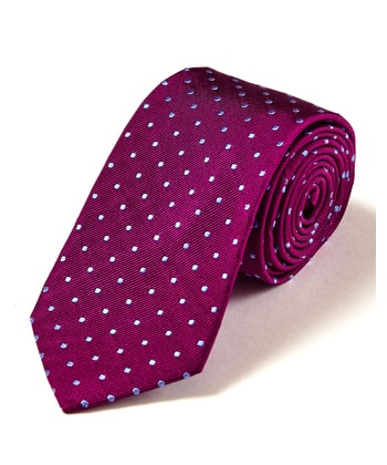 Blue Dots on Magenta - Woven Silk Tie