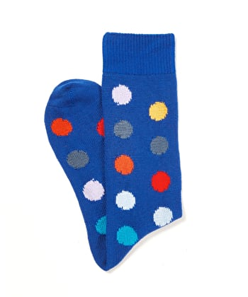 Spotty Cotton Socks - Blue
