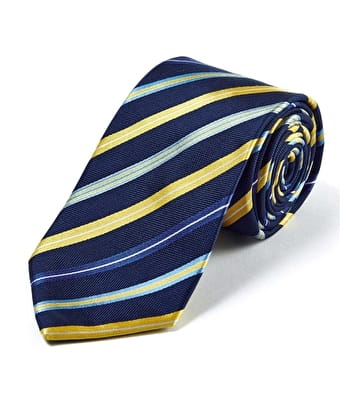 Navy/Yellow Stripe - Woven Silk Tie