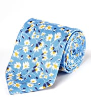 White Flowers on Blue - Printed Silk Tie