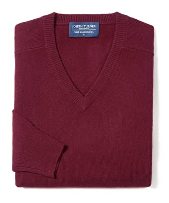Lambswool Jumper - V Neck - Burgundy