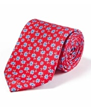 Blue Flower on Red Printed Silk Tie