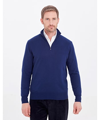 Cotton/Cashmere - Half Zip - Dark Blue