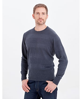 Cotton Textured Stripe Jumper - Crew Neck - Navy