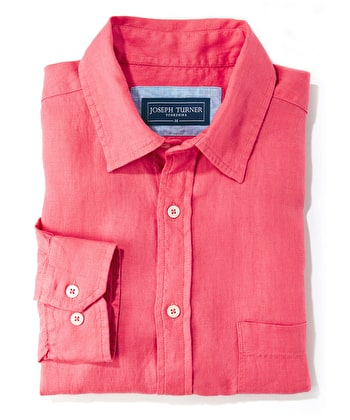 Linen Shirt - Long Sleeve - Coral