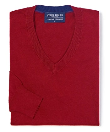 Cotton/Cashmere - V Neck - Red