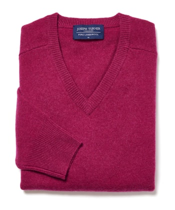 Lambswool Jumper - V Neck - Magenta