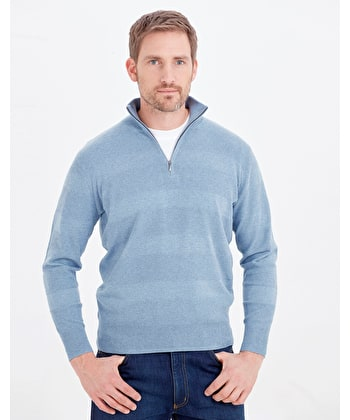 Cotton Textured Stripe Jumper - Half Zip - Light Blue
