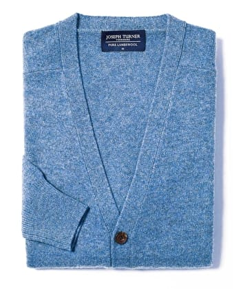 Lambswool - Cardigan - Mid-Blue
