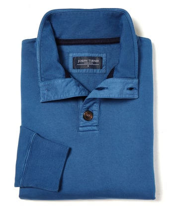 Button-Neck Sweatshirt - Blue