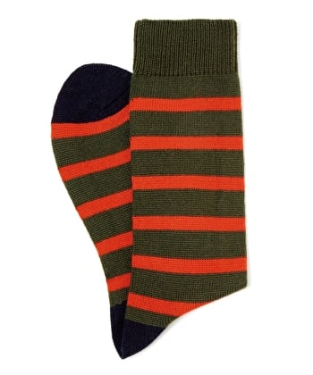 Stripey Wool Socks - Olive/Orange/Navy