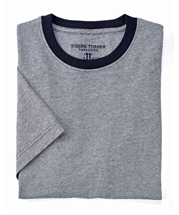 Cotton T-Shirt - Navy/White Mix