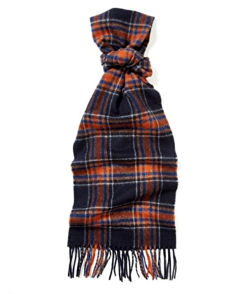 Lambswool Scarf - Navy/Orange