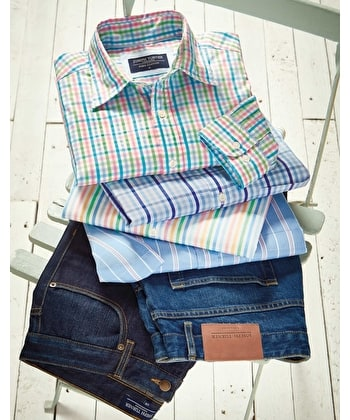 Weekend Shirt - Short Sleeve - Blue/Pink Stripe