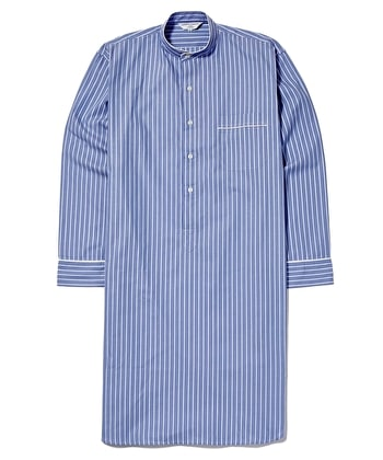 Nightshirt - Blue/White Stripe - Fine Cotton