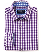 Casual Gingham Check Shirt - Purple Gingham