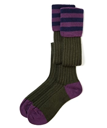 Contrast Top Country Socks - Olive/Purple/Navy
