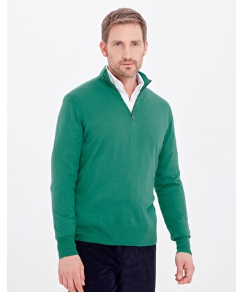 Cotton/Cashmere - Half Zip - Green