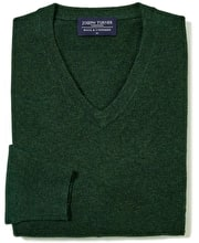 Wool/Cashmere Jumper - V Neck - Green