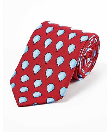 Blue Balloons on Red - Printed Silk Tie