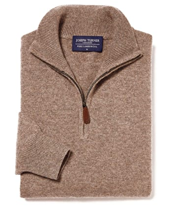 Lambswool Jumper - Half Zip - Brown