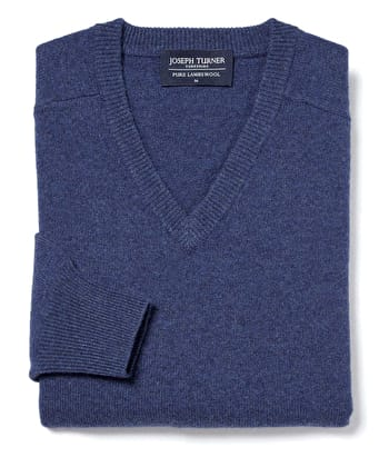 Lambswool Jumper - V Neck - Blue