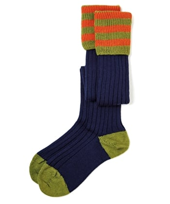 Contrast Top Country Socks - Navy/Green/Orange