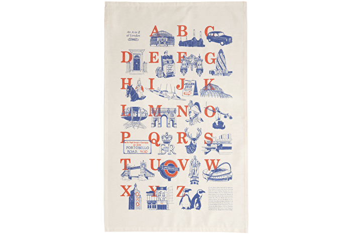 A to Z of London - Tea towel