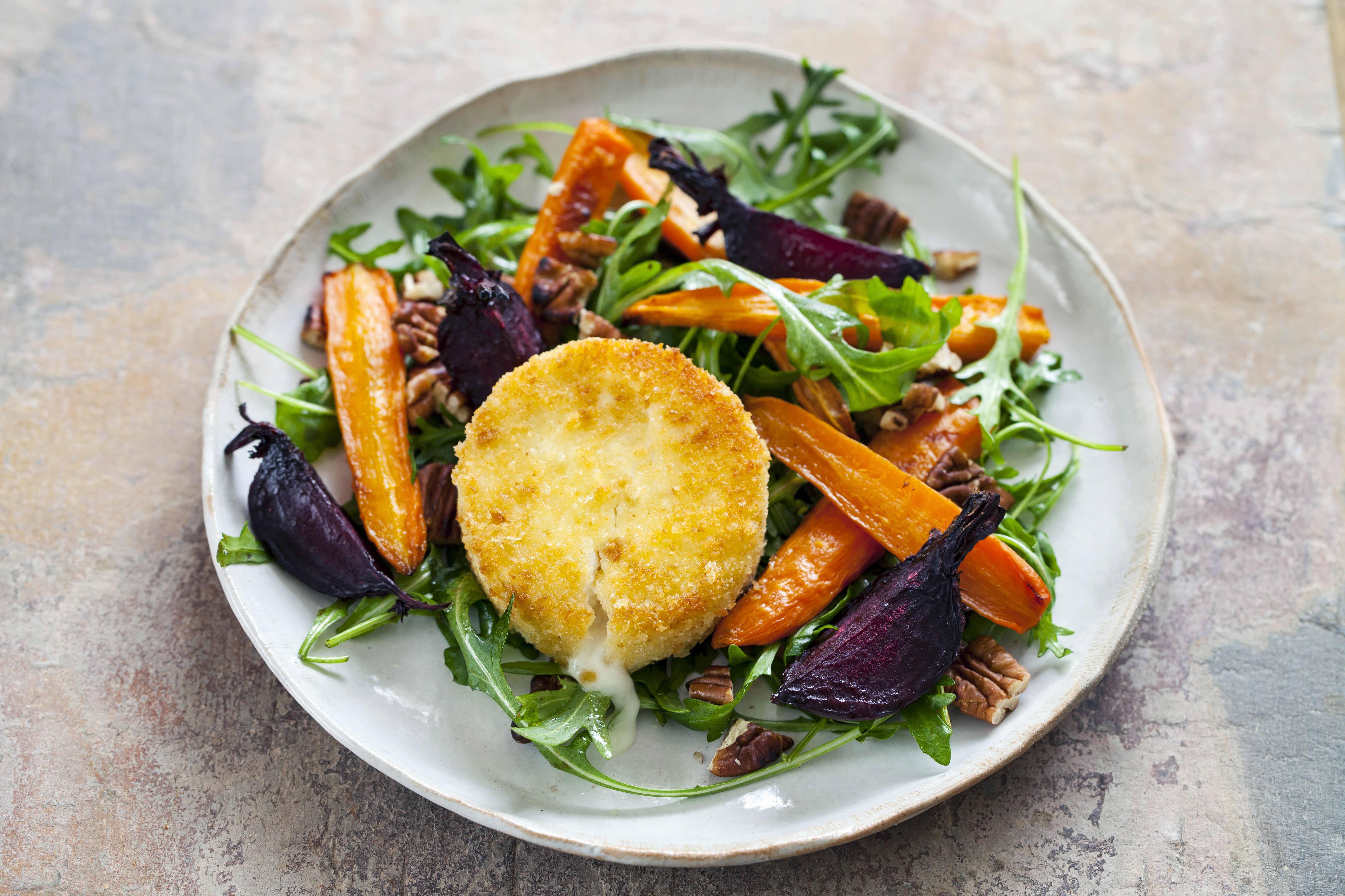 Baked Goats Cheese with Roasted Beetroot and Carrot Salad