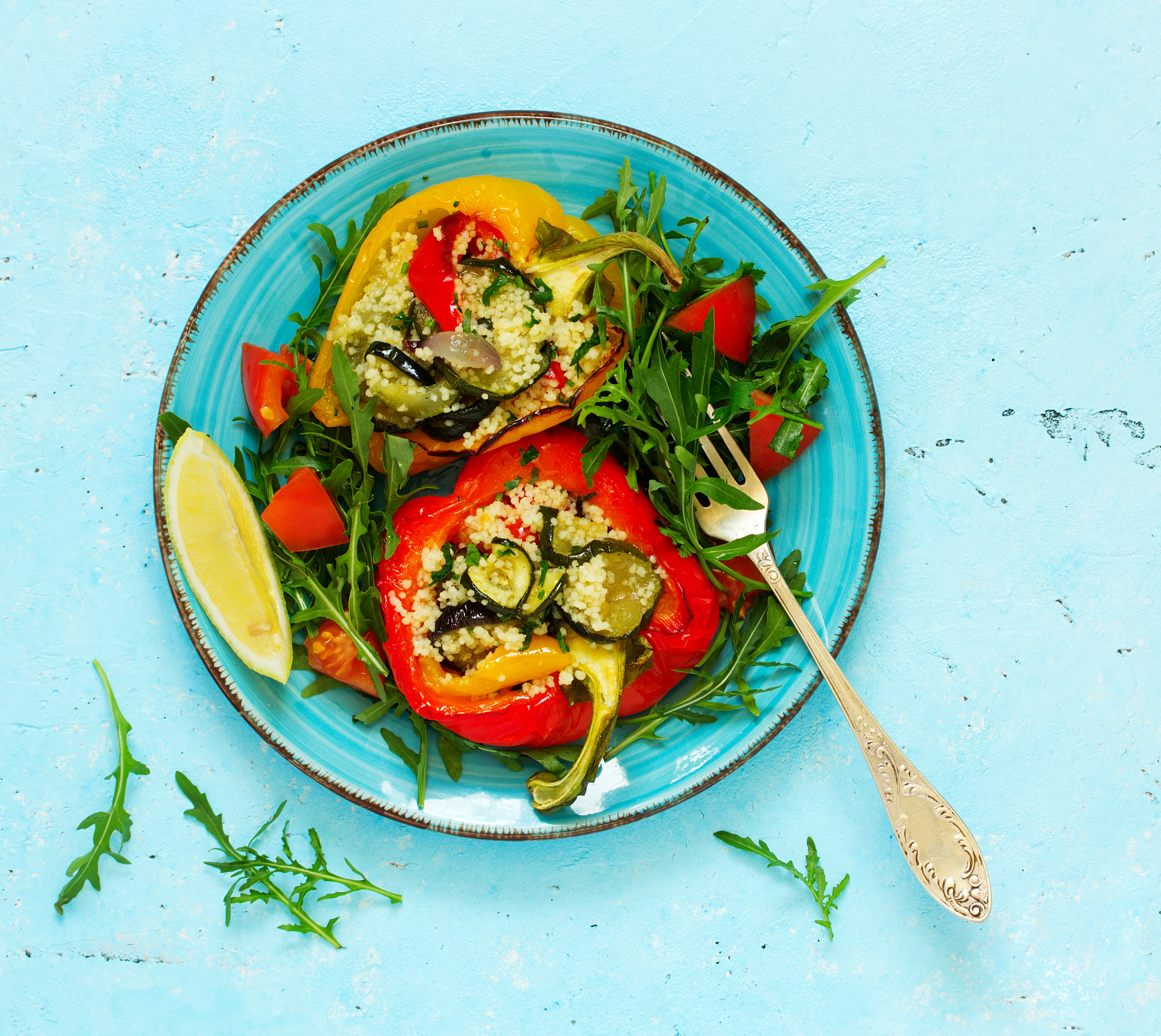 Stuffed Peppers with Courgette, Feta and Mint Salad