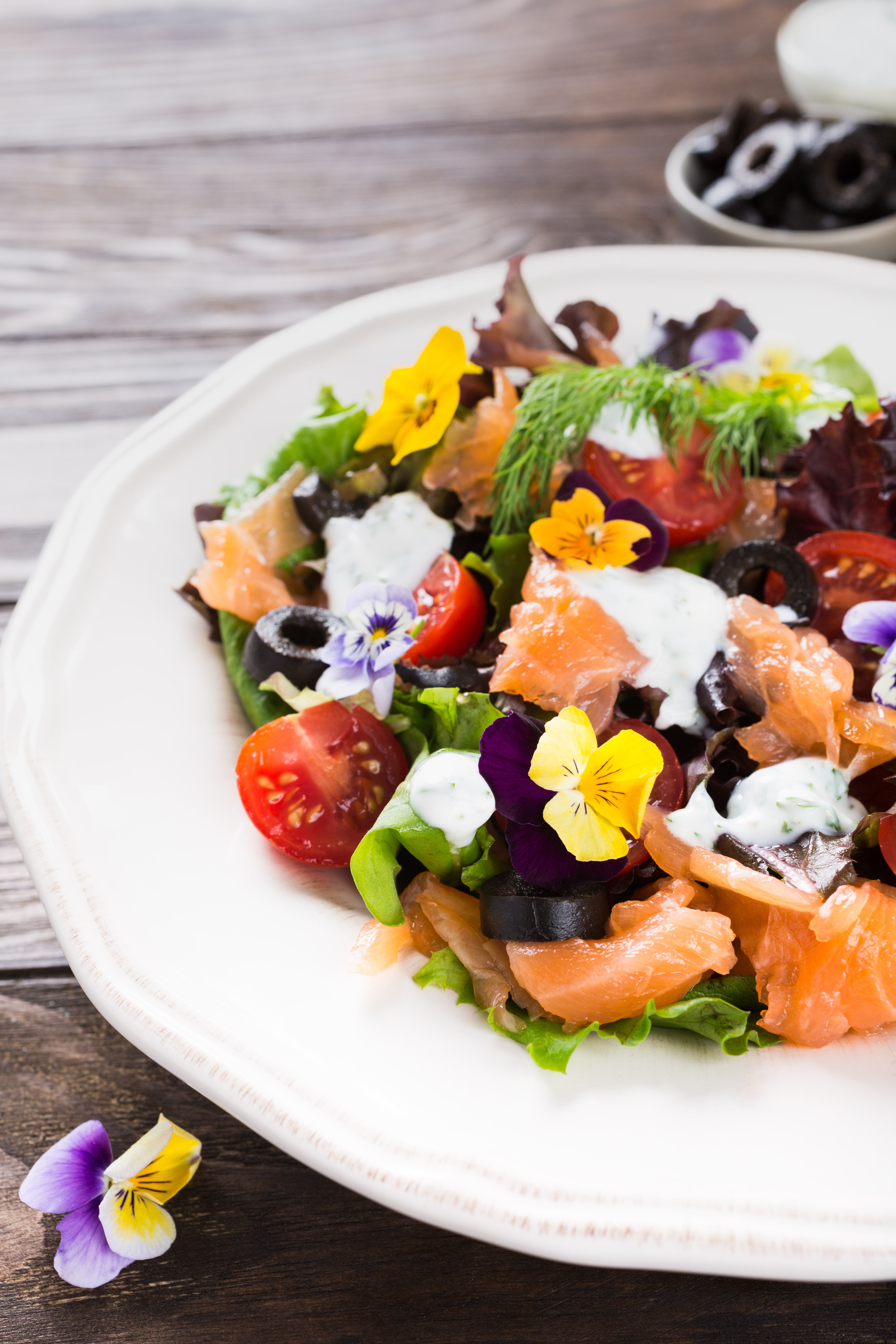 Salmon and Tomato Salad with Edible Flowers