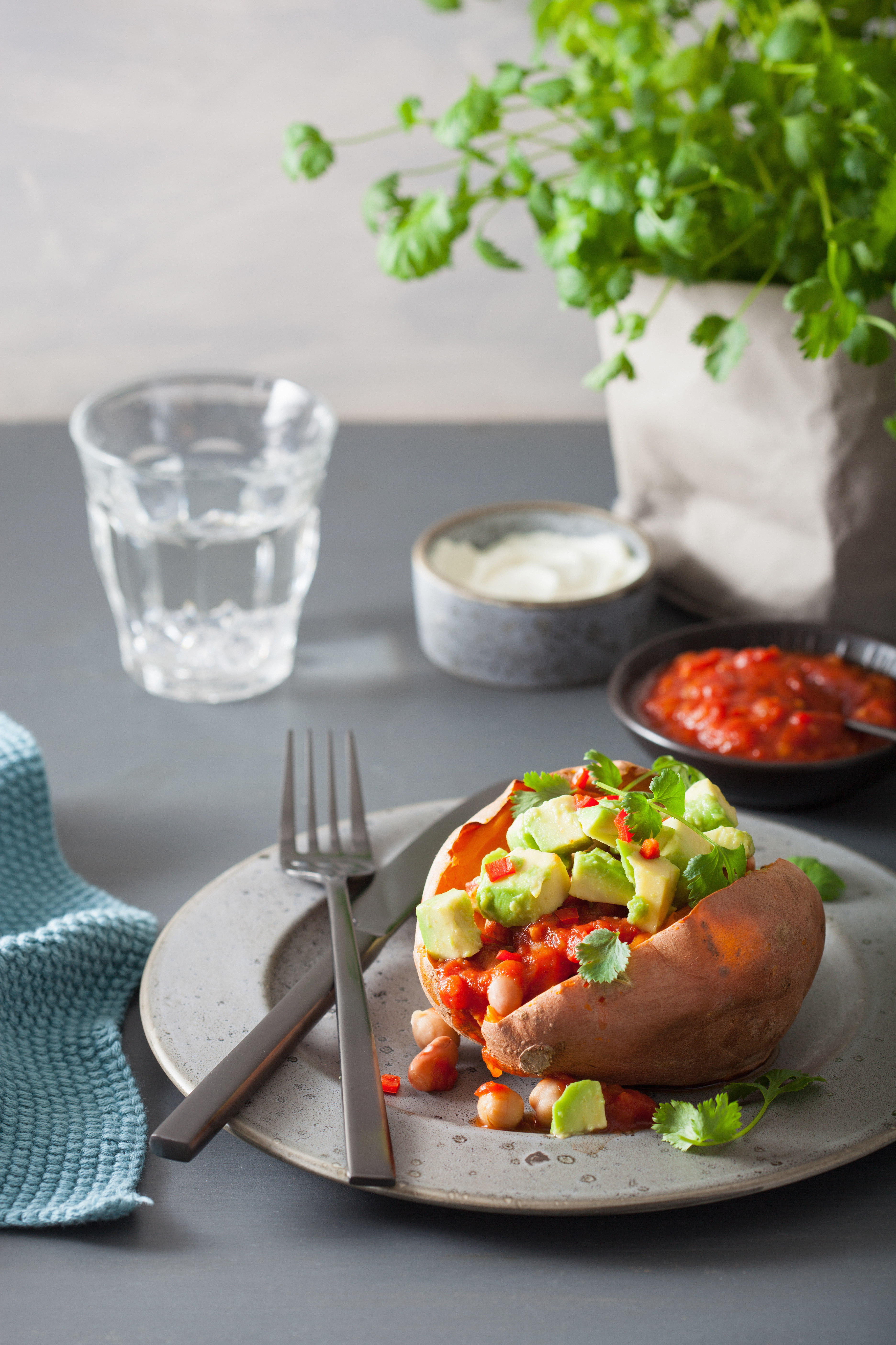 Gut Friendly Sweet Potato with Avocado and Chilli Bean Salsa