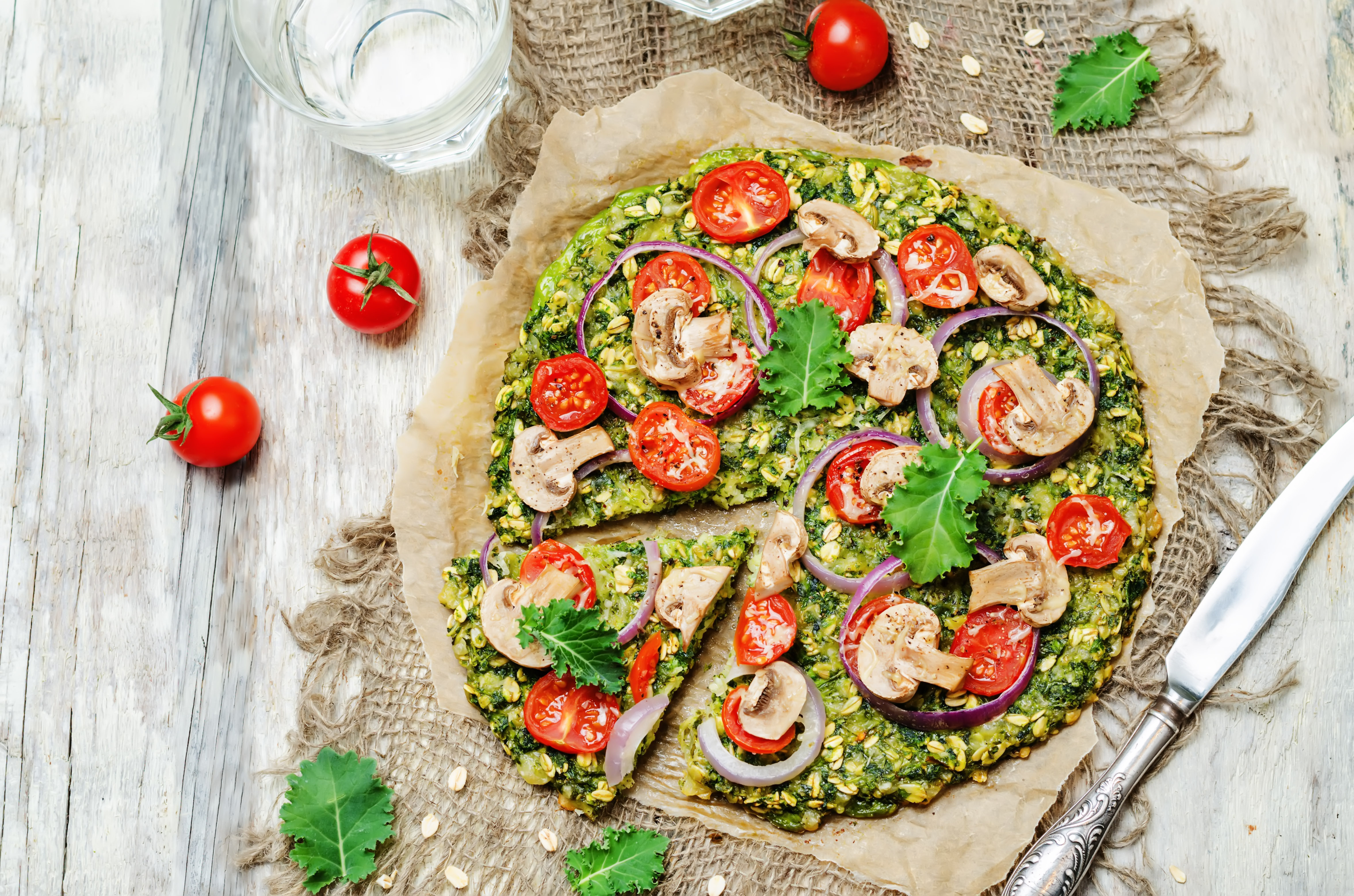 Kale and Oat Pizza Crust