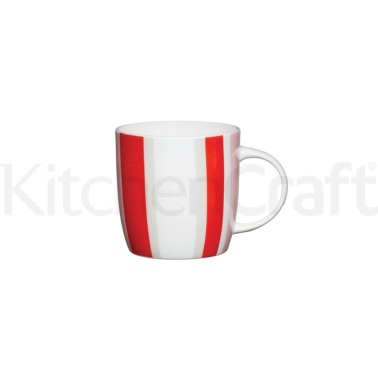 KitchenCraft Fine Bone China Red Stripe Barrel Mug