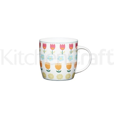 Kitchen Craft Folky Floral Fine Bone China Barrel Mug