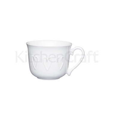 KitchenCraft Stoneware Embossed Hearts Breakfast Cup
