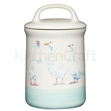 Apple Farm Geese Sugar Canister in Stoneware