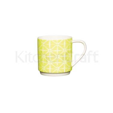 KitchenCraft Bone China Neon Yellow Stacking Mug