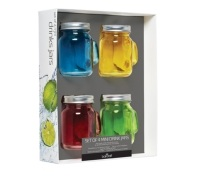 BarCraft Set of 4 Mini Glass Drinks Jars with Straws