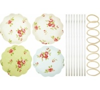 Home Made Pack of 8 Floral Patterned Fabric Jam Cover Kits