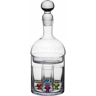 BarCraft 6 Piece Shot Glass and Decanter Set