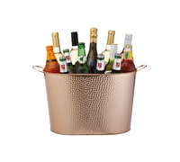 BarCraft Hammered Copper-Finished Large Champagne/Wine Cooler Bucket