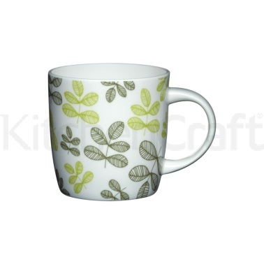 Kitchen Craft Fine Bone China Green Leaves Barrel Mug