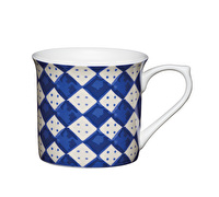 KitchenCraft Set of Four Fluted Fine Bone China Blue Diamonds Mugs