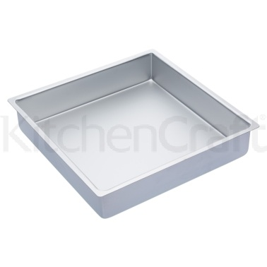 MasterClass Silver Anodised 35cm Square Deep Cake Pan